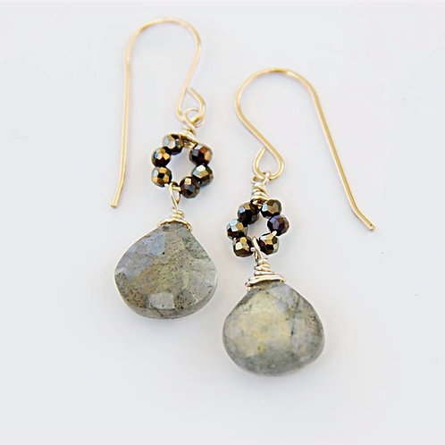 Gold Pyrite Rondelle Circle with Labradorite Drop Earrings