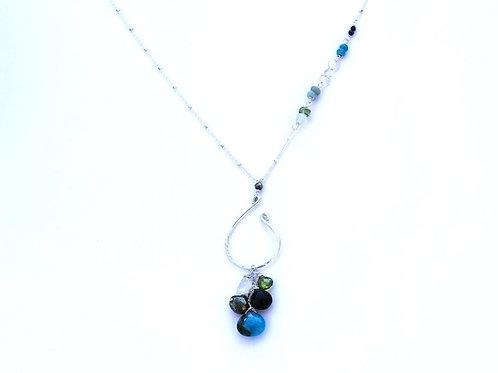 Asymmetrical Sterling Necklace w Peridot, Moonstone, Pyrite, Labradorite & Turqu