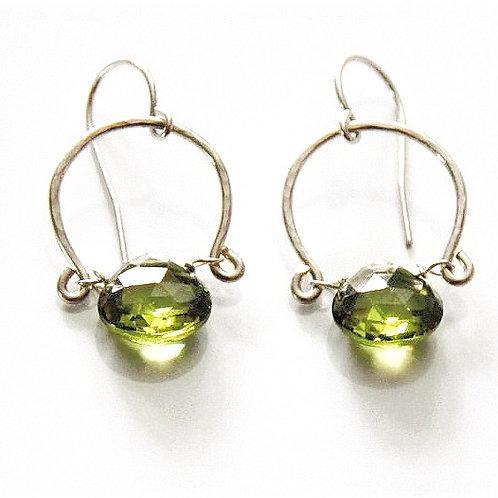 Heart Shaped Peridot Silver Earrings