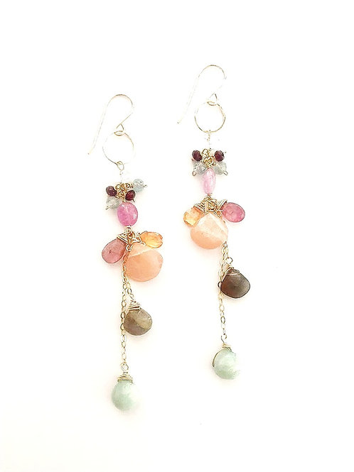 Gold Dangly Multi-Gem Stone Earrings
