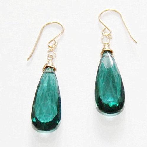 Indicolite Quartz Gem Gold Earrings