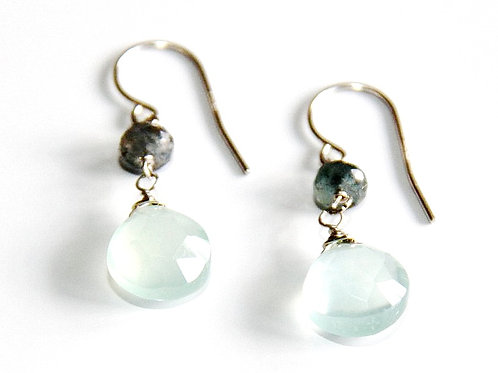 Chalcedony with Pyrite Gold Earrings