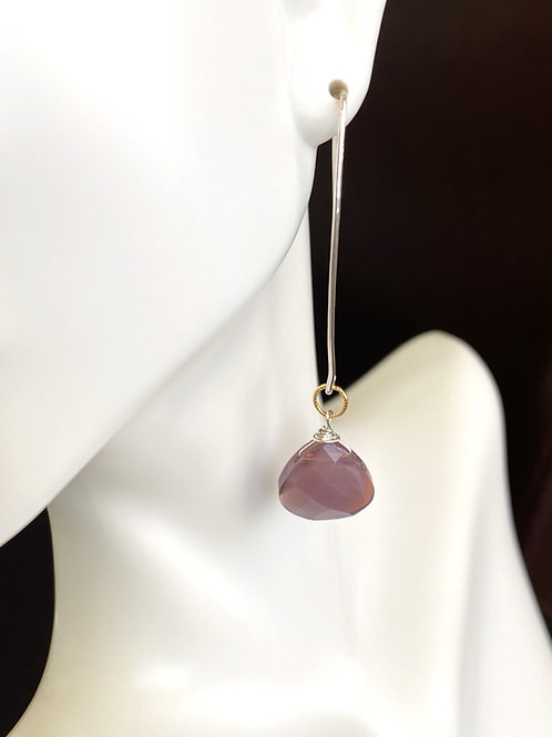 Crystal drop on sterling silver long ear wire