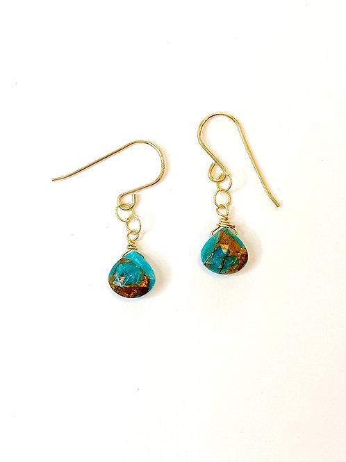 Copper Infused Turquoise on Gold