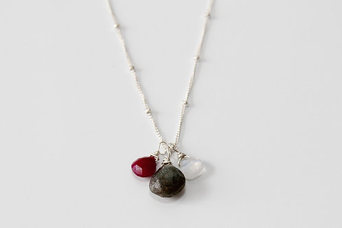 Moonstone, Ruby, and Labradorite Sterling Silver