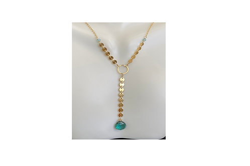 Indicolite Quartz Y necklace in 14kt gold fill
