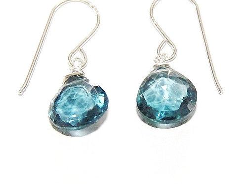 Heart Shape London Blue Topaz Silver Earrings