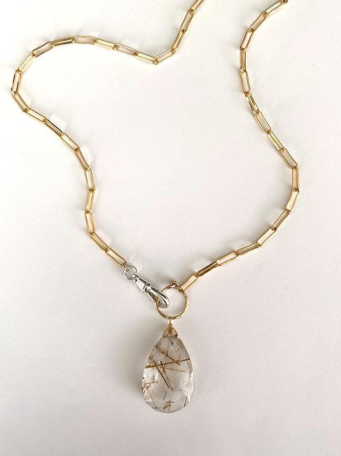 Rutilated quartz mixed metal necklace