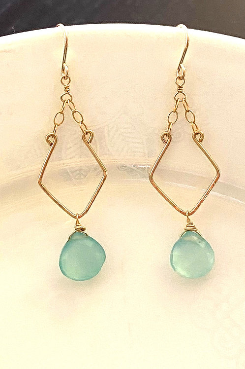 Chalcedony on Hand Forged and Textured Gold