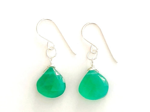 Sterling Silver Earrings with Green Onyx