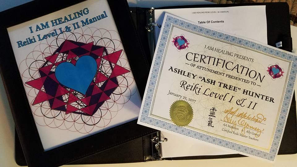 Reiki certificate and manual