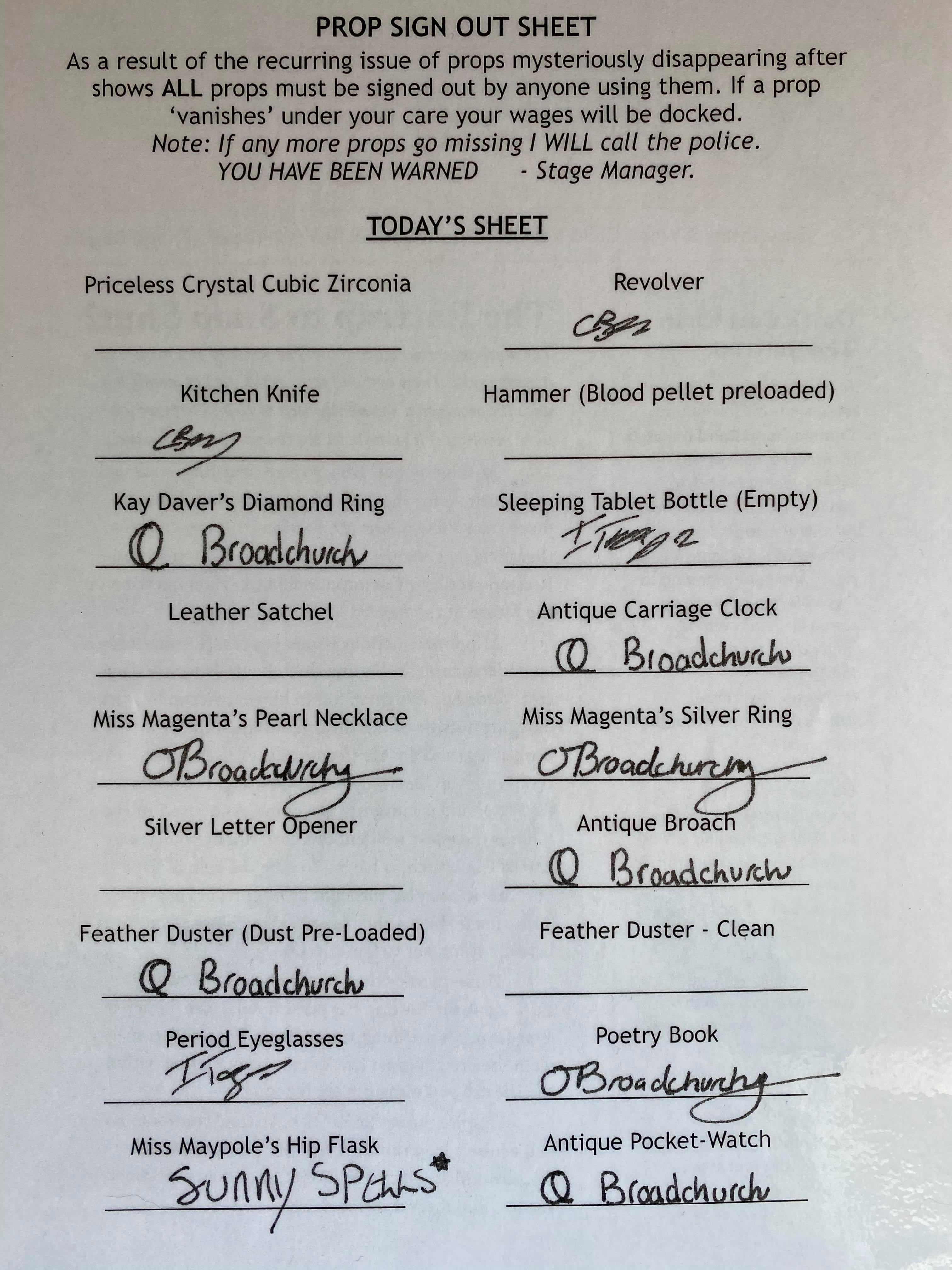 Prop Sign Out Sheet