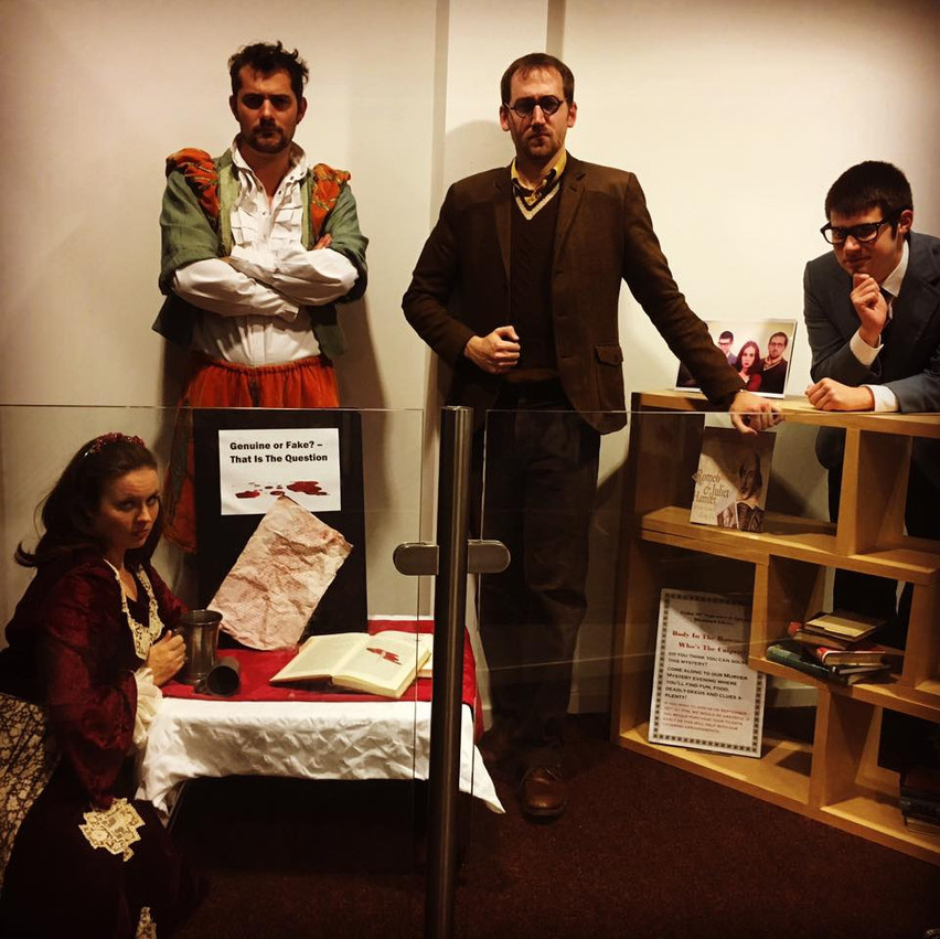 Posing in our very own murder themed window display at Blackburn Library
