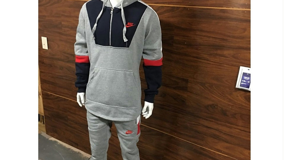 Grey and blue pullover jogging set
