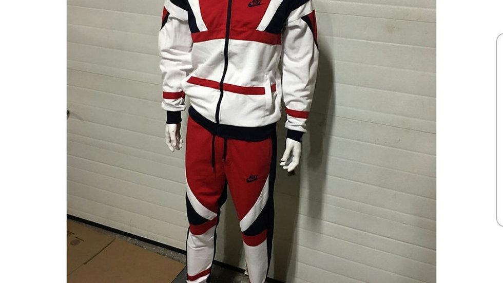 White navy blue red jogging set