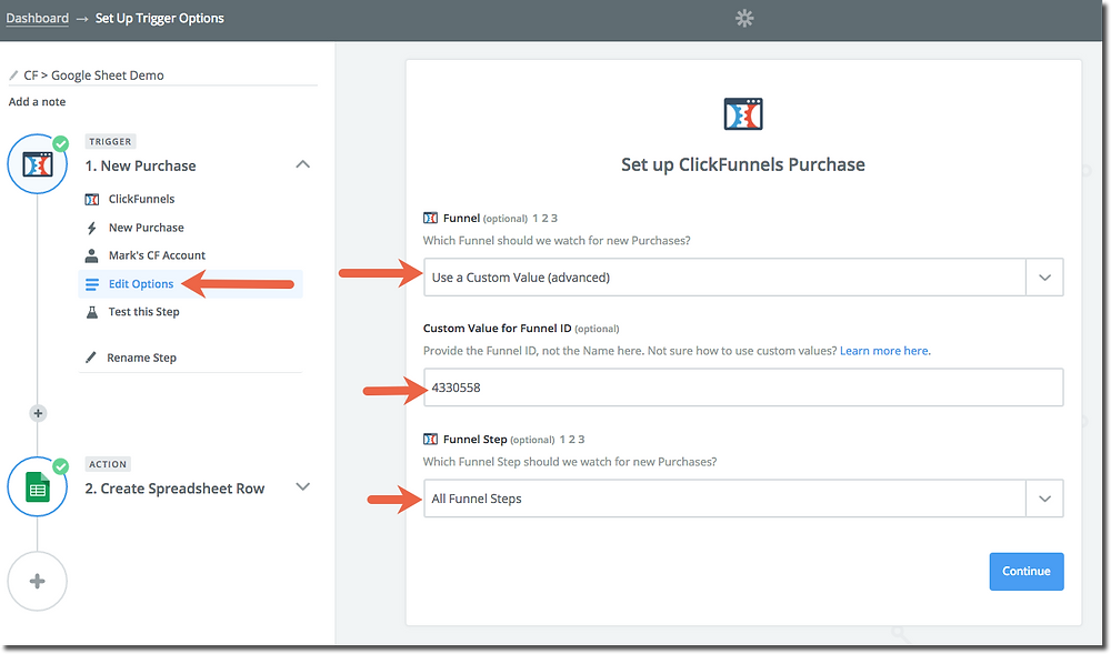 this image shows clickfunnels and zapier