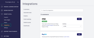 this image shows thinkific integrations