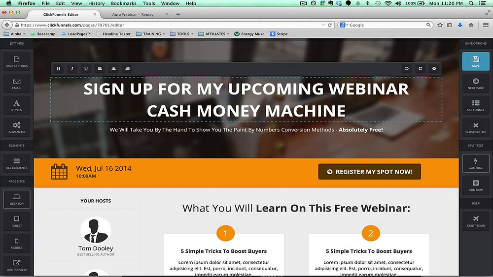 this image shows a clickfunnels webinar