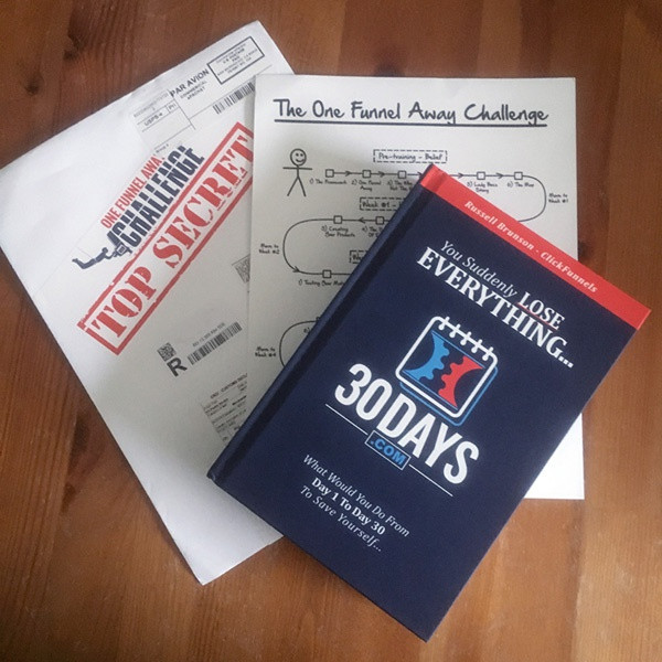 this image shows the one funnel away challenge hard cover book