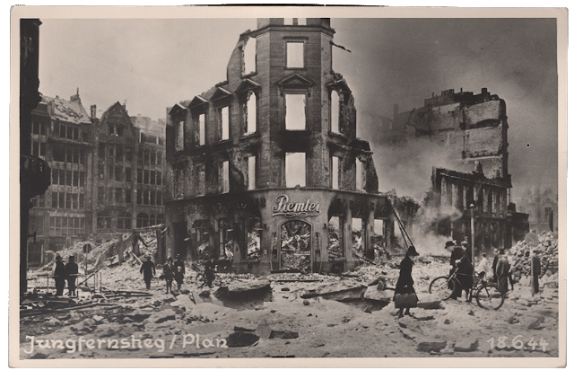 Hamburg, June 18, 1944 after British air attack. Real Photo Postcard (RPPC), Stuart Archive.