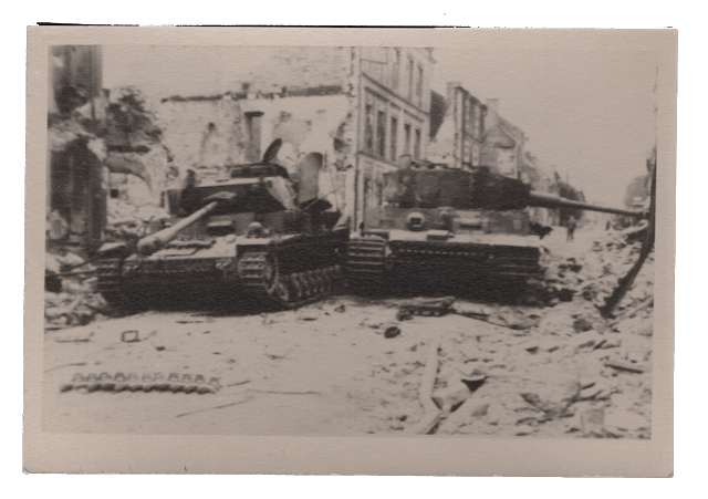 Knocked out Panzers at a battle in a city, c. 1940s. Stuart Archive.
