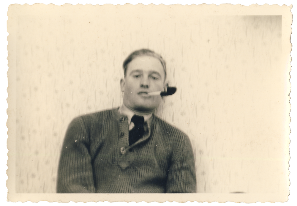 Original photo of Luftwaffe pilot chilling out with a pipe | Agfa photo, c. 1940s | Purchased in 2016, Stuart Archive.