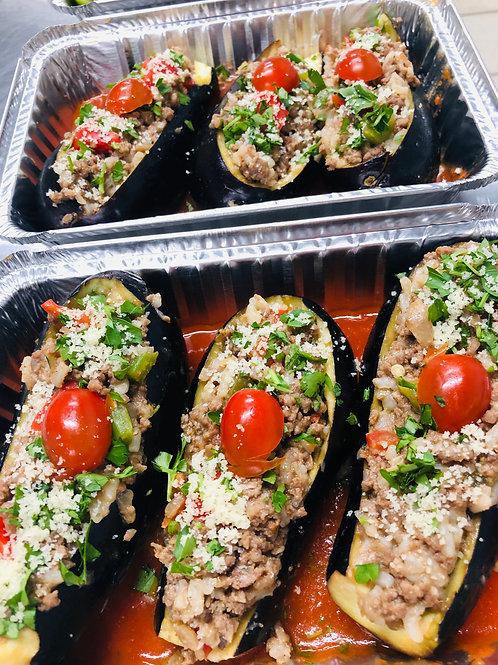 Beef/Garlic Stuffed Eggplant