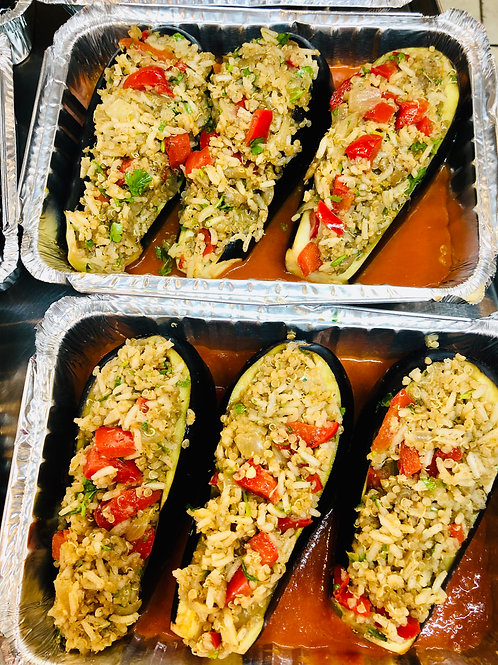 Veggie rice/quinoa stuffed eggplant