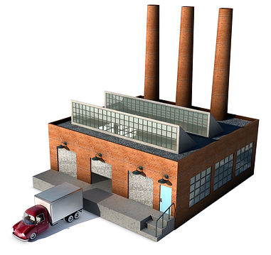 A small factory with a Cargo truck at a