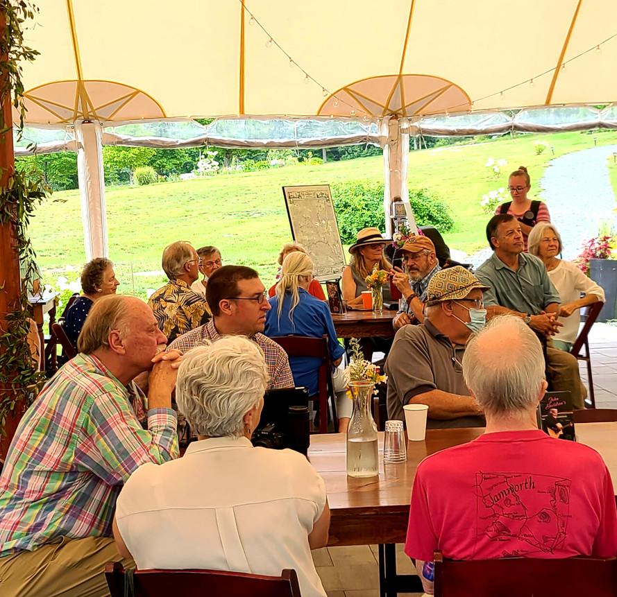 100th Birthday Annual Meeting 08182021 20 George Cleveland Daymond Steer, Lawrence Little, John Watkins, Geoff Burke, Chele Miller, and Rachel.