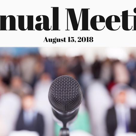 Tamworth Community Nurse Assoc. Annual Meeting, Aug. 15, 2018