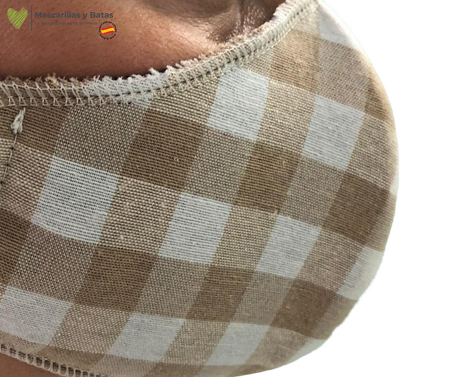 Mascarilla Textil Lavable - Cuadros Beig