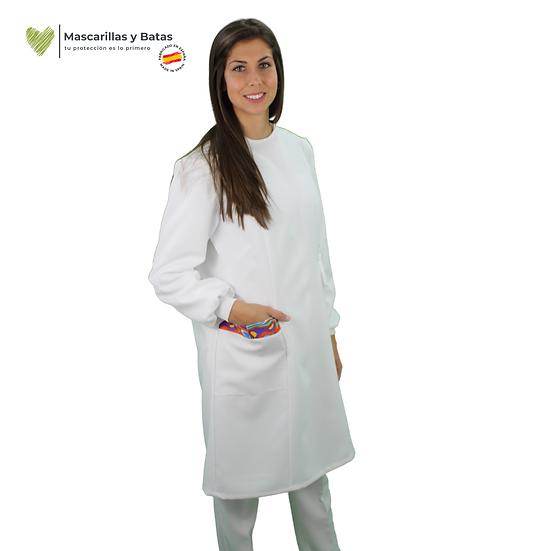 Bata SANEX Blanca Tejido Certificado Tratamiento Hidrófugo y Antibacteriano