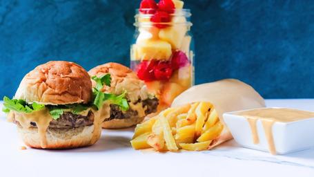 Black Bean Burger + Sweet Fries