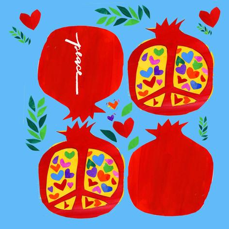 Pomegranate Cutout Blue