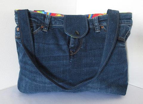 Repurposed Denim Handbag Rainbow Curve