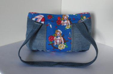 Gerbera Repurposed Denim Handbag Hello Sailor