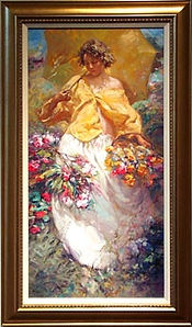 Spring-woman with parasol and floral baskets
