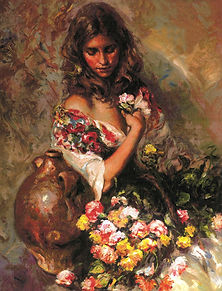 Sentimiento- (Feeling) woman with floral basket
