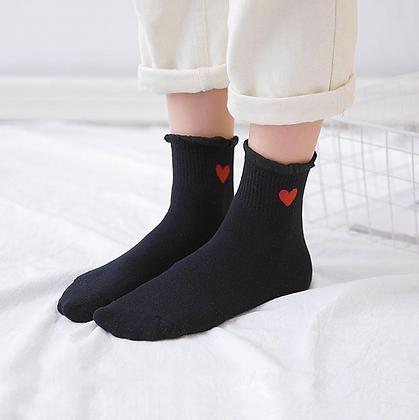 """Chaussettes """"coeur""""noires"""