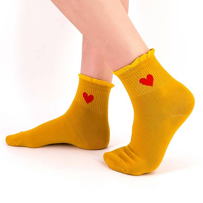 """Chaussettes """"coeur"""" moutarde"""