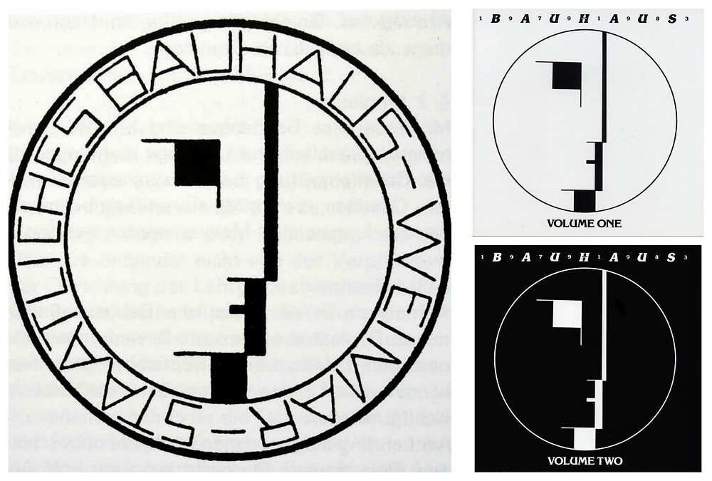 Oskar Schlemmer's 1922 Bauhaus logo and cover artwork for Bauhaus 1979-83 Volumes One and Two