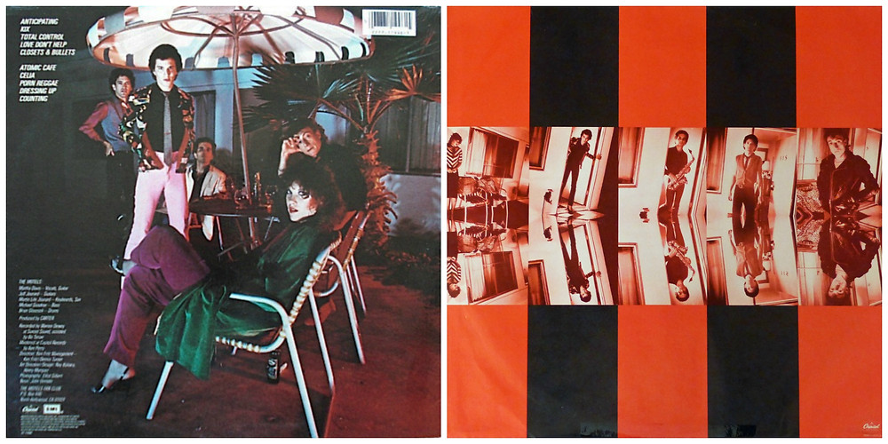 (Left) Back cover of The Motels - Motels (Capitol, 1979)  and inner sleeve (right). Photography by Elliot Gilbert.