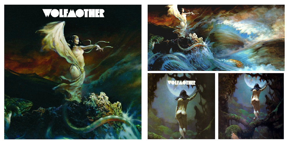 "Wolfmother - Wolfmother (Modular, 2005) and ""Woman"" (2005). Cover art by Frank Frazetta."