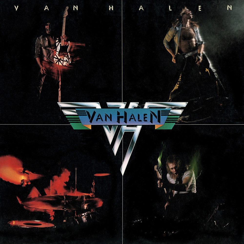 Front cover of Van Halen - Van Halen (Warner Bros., 1978). Photography by Elliot Gilbert.