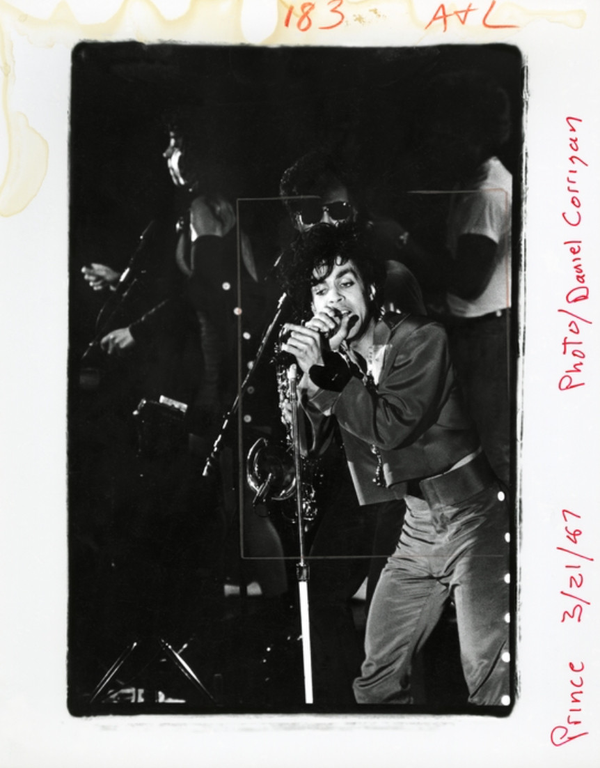 Prince live at First Avenue, 1987. Photo by Daniel Corrigan.