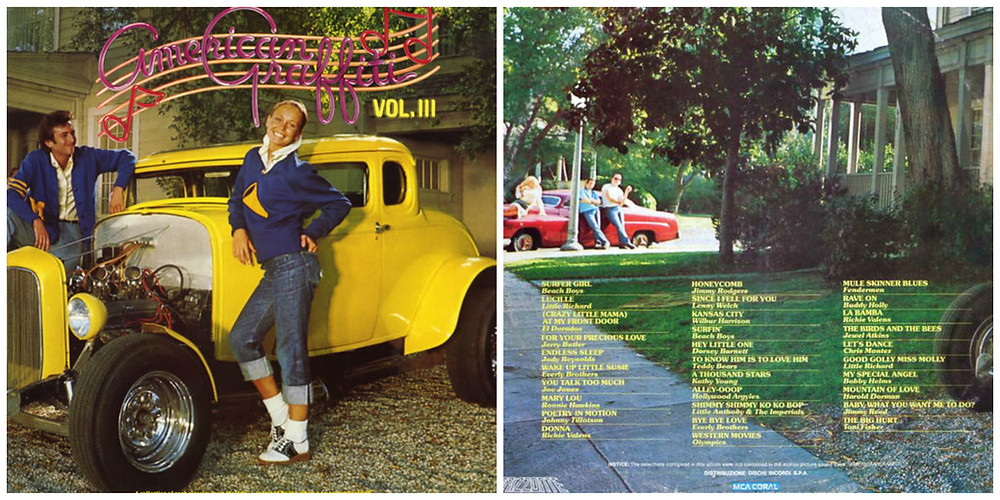 Front and back covers of American Graffiti Vol. III (MCA, 1976).  Photography by Elliot Gilbert.
