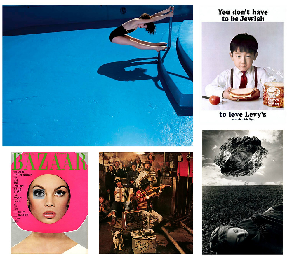 Influences: Clockwise from top: Guy Bourdin, vintage Levy's Rye Bread ad, Jerry Uelsmann, Reid Miles and Richard Avedon.