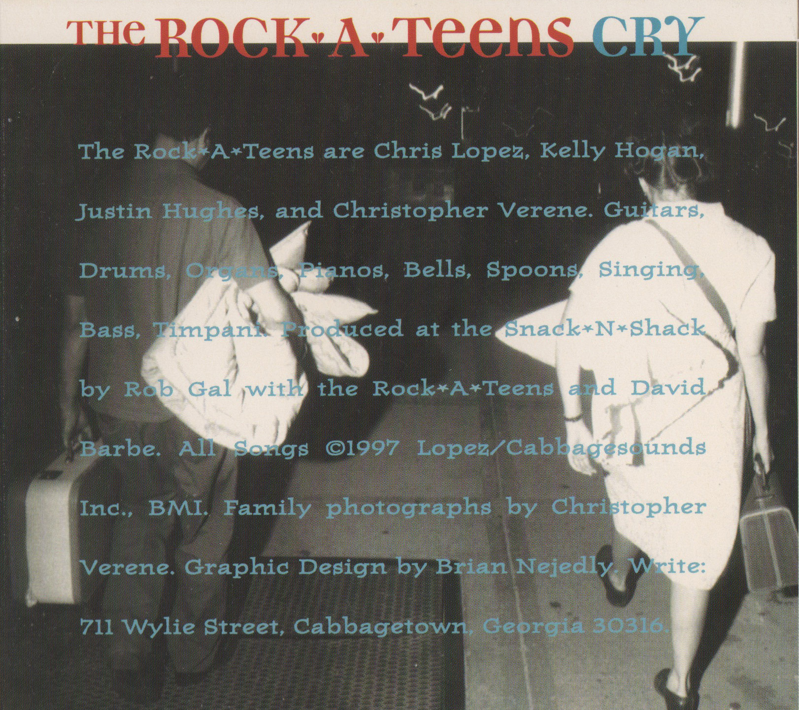 Interior photo of Chris Lopez and Kelly Hogan from The Rock*A*Teens - Cry (Daemon Records, 1997)