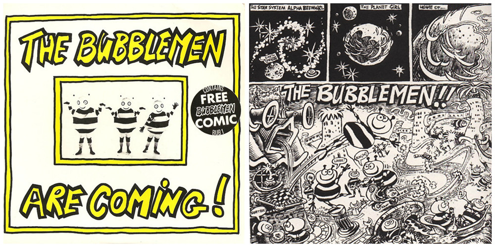 Cover art a comic excerpt from The Bubblemen Are Coming single.